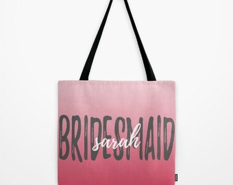 Personalized Bridesmaid Tote Bag, Custom Wedding Bags, Personalized Bags For Women, Maid of Honor Gift, Coral Wedding, Custom Tote Bag