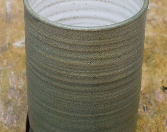 Utensil Holder *Made to Order* Dark green stoneware untensil holder with a speckled white glaze inside.