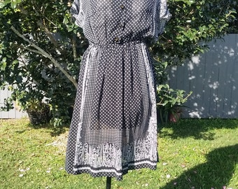 Vintage Handkerchief Monochrome Dress