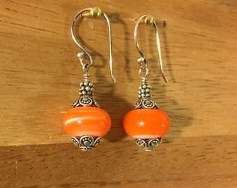 Orange Glass Bead Earrings, Sterling Silver Glass Bead Earrings, Hand Blown Borosilicate Orange Swirl, Borosiliocate Bead Earrings
