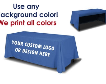 Custom Logo Table Throw (Open Back) | Trade Show, Event, Display Booth, Custom Logo Full Color Table Cover, Available for 6ft or 8ft tables