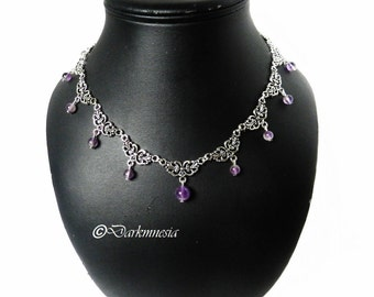 Necklace, gemstone, amethyst, purple, gothic, elven, medieval, viking, pagan