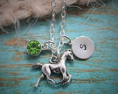 Horse Necklace - Rodeo Necklace - Horseback riding Necklace - Custom Horse Necklace - Horse Lover Gift - Little Girl Horse Necklace