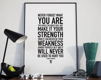 Never Forget What You Are - Poster, Game of Thrones, Tyrion Lannister, Quote
