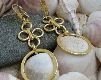 Gold Earrings, Dangle Gold Earrings, Hoop Earrings, Everyday Earrings, Dangle Earrings, Gift for Her, Classic Earrings, Gold plated Earrings