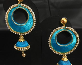 Indian Jewelry - Indian Silk Thread Jewelry - Silk Thread Earrings - Light Blue Indian Earrings - Indian Bridal - Bollywood Earrings - Desi