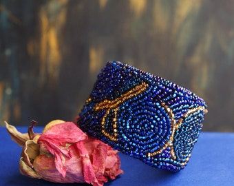 Bead embroidery bracelet - Navy blue bracelet - Embroidered cuff - Dark blue and gold