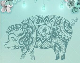 Pig Mandala / Mandala Svg / Pig Svg / Svg / Pig Dxf / Pig Png / Pig Zentangle / Pig Wall Art / Pig Adult Coloring / Mandala / Pig