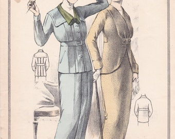 Engraving mode from the Journal of ladies dated Sept. 1. 1913 mode. Couture. french vintage!