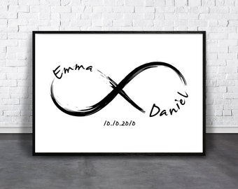 Personalize Infinity, Custom Love Print, Couple Name Wall Art, Date Artwork, Printable Wedding Gift, Custom Anniversary, Personalized Match