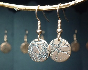 Copper Disc Earrings | Copper Jewellery | Handmade | Etched Copper | Gift for her | Textured Copper | Embossed | Autumn Disc Earrings Small