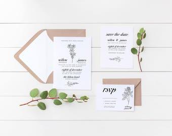 Botanic Flora Wedding Invitation Suite, the Elisabeth Suite, Minimalist Wedding Invite, Floral Wedding Invitations, Printable Invite