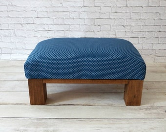 Ottoman blue home décor- footstool - pouf - small upholstered bench living room - fabric footstool - upholstered ottoman - wooden ottoman