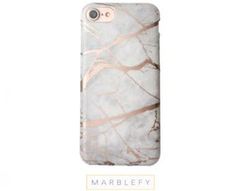 Rose Marble Phone Case ,Shiny Metallic Rose Gold Reflective Gift for Her, iPhone 7, 6, 6S, Plus Case ,Chrome, Rose gold marble iphone case