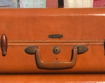 "18"" Brown Samsonite Suitcase/ Luggage /Shwayder Bros Inc Denver Detroit /Vintage 1950s /Hard Case/ Shell Case"