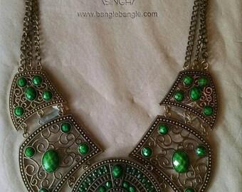 Gorgeous Vintage Amrita Singh Statement Necklace, Green, Bib Necklace