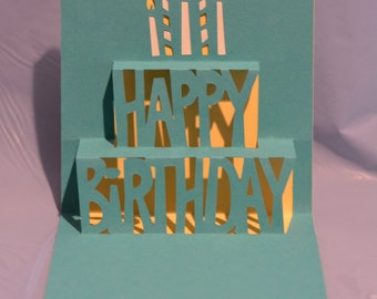 Birthday Pop Up Card, Unique Birthday Card, Birthday Card, Pop Up Card
