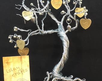 Personalised family tree/memory tree, twisted metal tree art, personalised item,