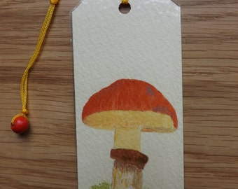 Original double-sided watercolor bookmark featuring fungi