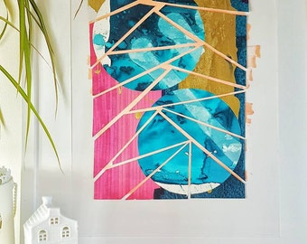 CIRCLE COLLECTION// original artwork// layered collage// pink, turquoise, blue, gold + coral