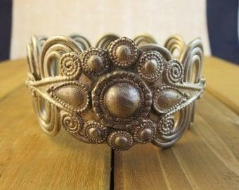 """Vintage Cuff Bracelet Intricate Design 8.75"""" Wrist"""