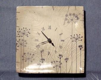 Raku ceramic floral clock