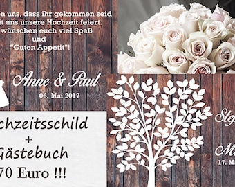 2 x 70 x 50 cm guestbook & wedding, wedding tree, welcome sign, wedding tree, guest book, welcome board
