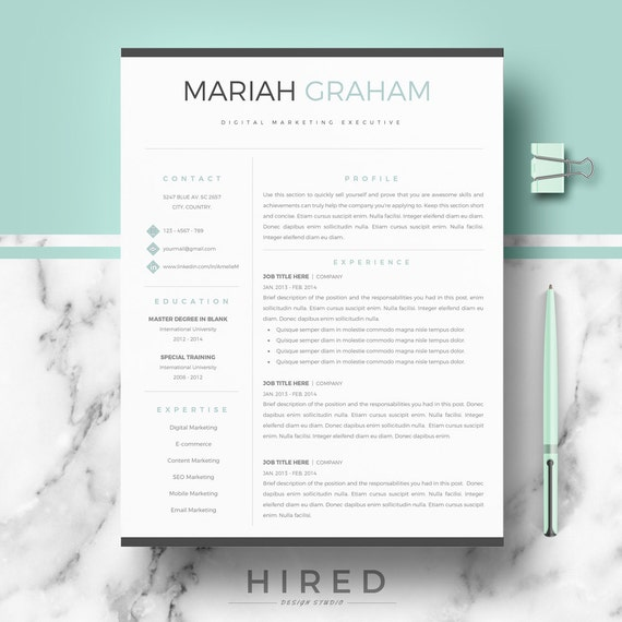 Professional Resume Template For Word U0026 Pages, Modern Resume CV Template +  Cover Letter + Resume Writing Guide + Free Tips; Instant Download