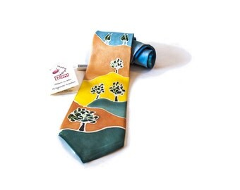 """Hand-painted silk tie """"glimpses of Val d'Orcia"""