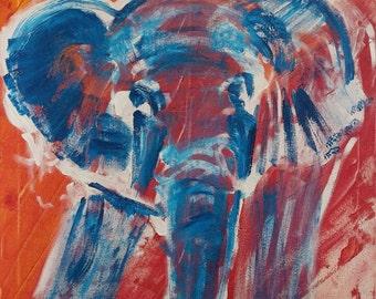 Elephant painting, minimalist art, acrylic, giclee print, fine art, gift, animal, home decor