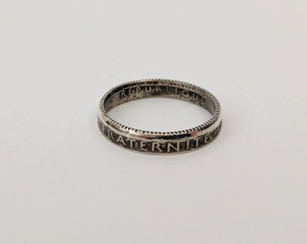 1914 French 1 Franc 0.835 Silver Coin Ring
