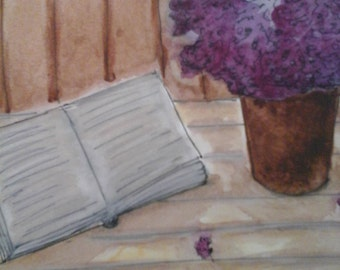 """Watercolor painting with its frame: """"Book and lilac Bouquet"""""""