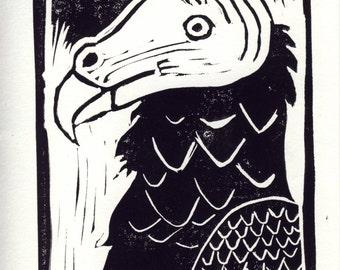 Turkey Vulture Linocut Print