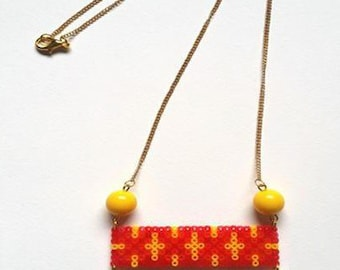 "Necklace ""Collection Grafik"" red and yellow / hama beads / pixel"