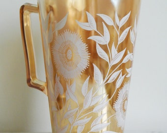 Vintage JEANNETTE GLASS COMPANY Glass Pitcher Cosmos
