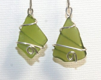 Small recycled sterling silver and green glass earrings~100% Recycled~Wire Wrapped Earrings ~Sea Glass~Eco Friendly Jewelry~Upcycled~Boho