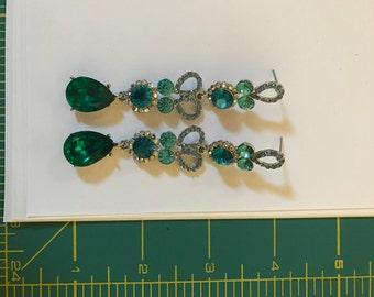 Vintage 1980's Rhinestone Drop earrings crystal, teal green and blue