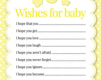 Baby Shower Wishes - Pack Of 16 - Available In 4 Different Colours (Yellow)