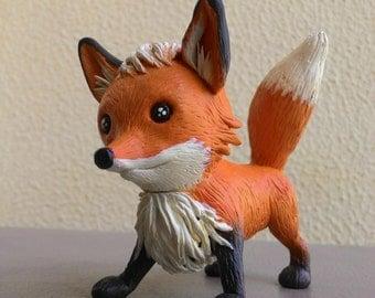 Miniature Fox Clay Figurine