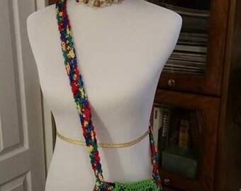Multicolored crochet crossbody purse