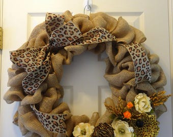 Leopard Print Burlap Wreath