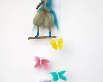 blue gnome, fisherman elf, felted gnome, child felted mobile