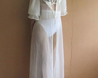 60s Vintage Robe,  Sheer Robe, Beige Long robe.