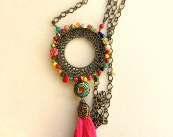 Eclectic rainbow wreath necklace