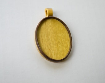 Large LIGHT pendant blank fine finished - Walnut and Yellowheart - 36 x 46 mm - Oval - (A1-WY)