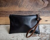 Leather Zipper Clutch/ Leather Clutch Bag/ Medium Leather Bag/ Travel Organizer/ Cord Organizer/ Leather Wristlet