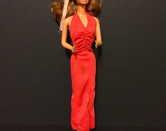 Barbie Doll Red Disco Polyester Dress Vintage 1980s
