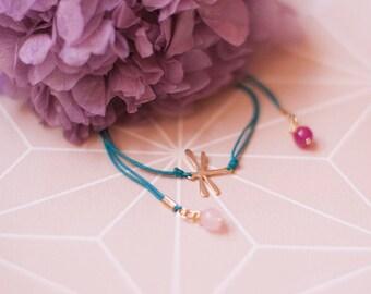 Delicate Dragonfly Bracelet. Dainty Dragonfly Charm Bracelet. Gold Plated Macrame Bracelet. Dragonfly Bracelet. Macrame Bracelet. Dragonfly