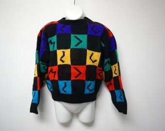 McKids. multicolor knitted sweater . boy's size Large (7) . made in USA