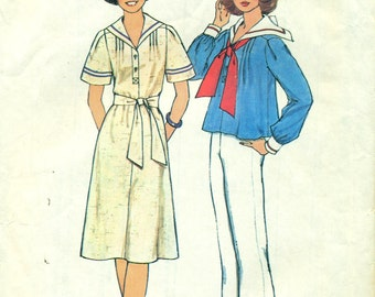 Simplicity 7439 Pullover MIDDY Dress & Top VINTAGE 1970s ©1976 Size Medium 12-14